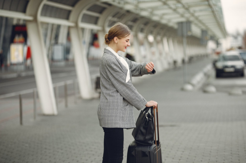 A woman waiting for her flight