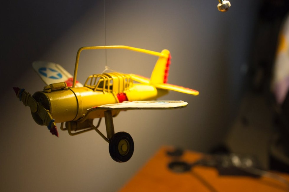 A yellow model airplane