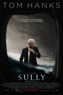 Sully movie poster, image of Tom Hanks, airplane window