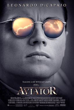 The Aviator movie poster, image of Leonardo DiCaprio, image of the clouds in the sunglasses,
